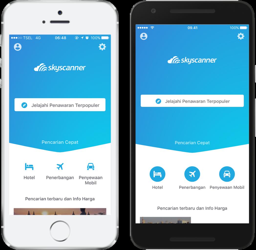 Tampilan antarmuka aplikasi Skyscanner terbaru untuk iOS dan Android