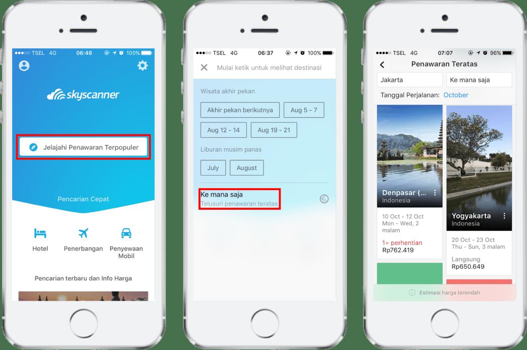 Jelajahi Penawaran Terpopuler dari Skyscanner untuk mendapatkan ide destinasi liburan Anda