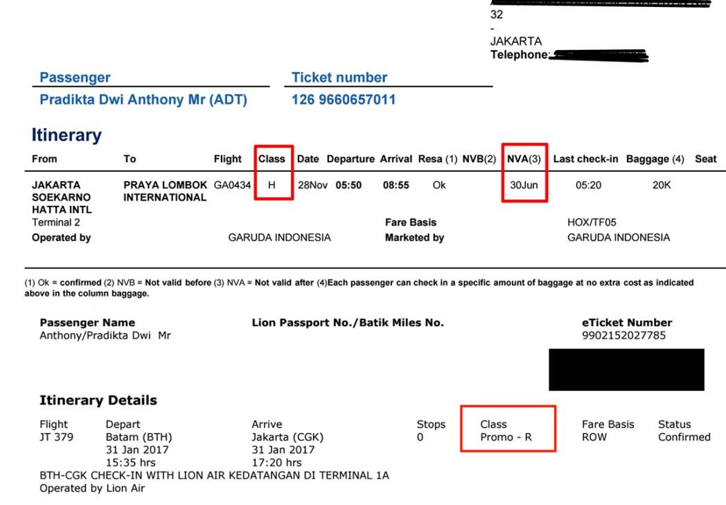 Cara mengetahui subkelas tiket Anda pada e-ticket
