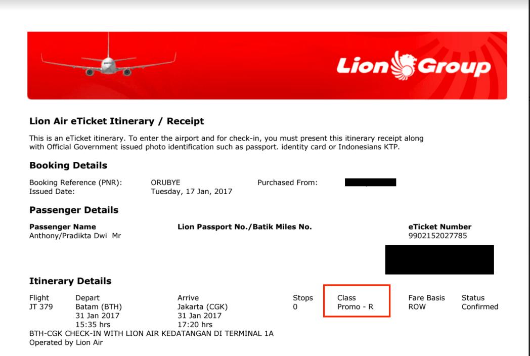 Cara cari tahu info subkelas tiket Anda dan masa berlakunya